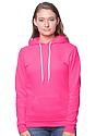 Unisex Fashion Fleece Neon Pullover Hoodie NEON PINK Front2