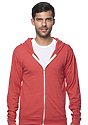 Unisex eco Triblend Jersey Full Zip Hoodie ECO TRI TRUE RED Front