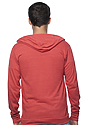 Unisex eco Triblend Jersey Full Zip Hoodie ECO TRI TRUE RED Back