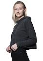 Women's eco Triblend Fleece Crop Hoodie ECO TRI CHARCOAL Back