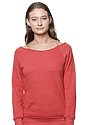 Women's eco Triblend Fleece Raglan w/Pouch Pocket ECO TRI TRUE RED Front