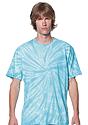 Unisex Organic Spiral Tie Dye Tee AQUAMARINE 1