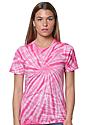 Unisex Organic Spiral Tie Dye Tee FLAMINGO 1