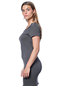 Women's Viscose Bamboo Organic Tee Dress PEWTER Back
