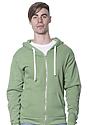 Unisex Organic RPET Fleece Zip Hoodie HEATHER KIWI Front