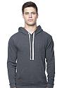 Unisex Organic RPET Fleece Pullover Hoodie HEATHER COAL Front
