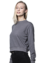 Womens Organic RPET French Terry Crew HEATHER ASH Side