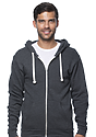 Unisex Organic RPET French Terry Zip Hoodie HEATHER COAL Front